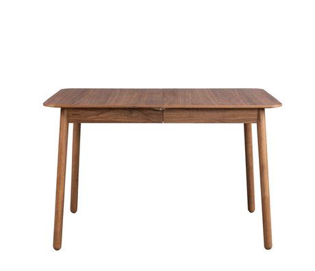 Zuiver Eettafel uitschuifbaar Glimps bruin notenhout 120/162x80x76cm