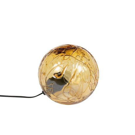 Dutchbone Tafellamp Lune Geel Glas Ø25x24cm