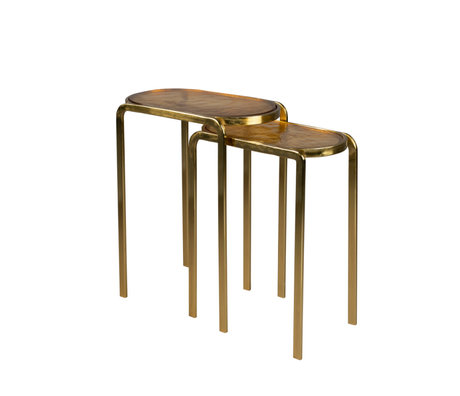 Dutchbone Bijzettafels Bandhu Goud Aluminium Set Van 2