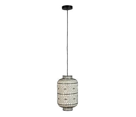 Dutchbone Hanglamp Ming Tall Zwart Wit Metaal Linnen Ø23x39,5cm