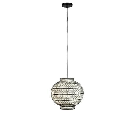 Dutchbone Hanglamp Ming Rond Zwart Wit Metaal Linnen Ø36x33cm