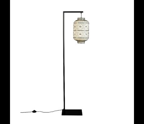 Dutchbone Vloerlamp Ming Zwart Wit Metaal Linnen 32x25x157cm