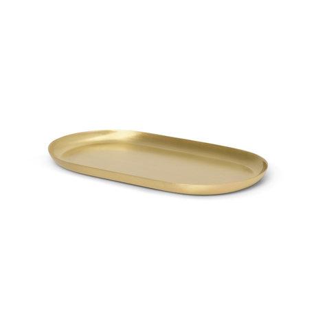 Ferm Living Dienblad Basho Ovaal Goud Messing 17,8x8,7x1cm