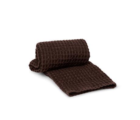 Ferm Living Handdoek Organic Donker Bruin Katoen 100x50cm