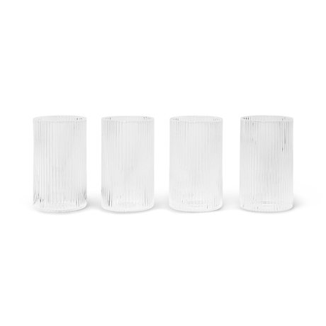 Ferm Living Glazen Set Ripple Transparant Glas Ø5,4x9cm