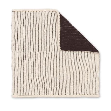 Ferm Living Dishcloth Twofold Dark Brown Creme Cotton 26x26cm