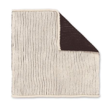 Ferm Living Geschirrtuch zweifach dunkelbraune cremefarbene Baumwolle 26x26cm