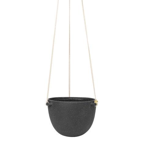 Ferm Living Hangende Pot Speckle Groot Donker Grijs Keramiek Ø20,5x15cm