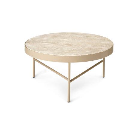 Ferm Living Side table Travertine Creme Travertine Powder coated Steel Ø40x45cm