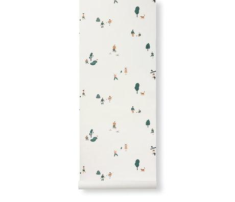 Ferm Living Behang The Park Multicolor Papier 53x1000cm