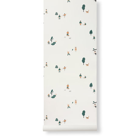 Ferm Living Tapete Das Park Mehrfarbenpapier 53x1000cm