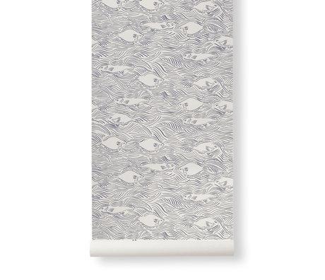 Ferm Living Behang Stream Creme Donker Blauw Papier 53x1000cm