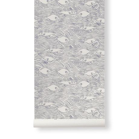 Ferm Living Wallpaper Stream Creme Dark Blue Paper 53x1000cm