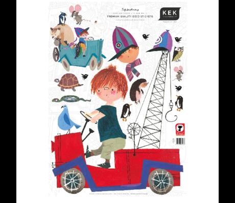 KEK Amsterdam Muursticker Fiep Westendorp Boy with Animals multicolor 42cmx59cm