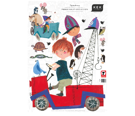 KEK Amsterdam Wandaufkleber Fiep Westendorp Junge mit Tiere Mehrfarben 42cmx59cm