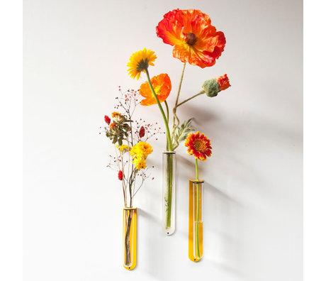 Groovy Magnets Magnetisch Bloemenvaasje Small Geel Glas Gepoedercoat staal 5,1x3,5x16,5cm