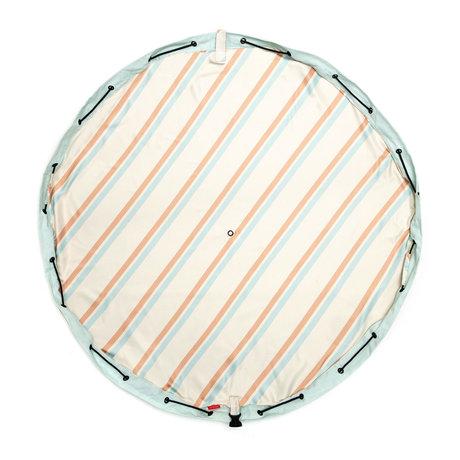 Play & Go Outdoor Opbergzak / Speelkleed Stripes Lichtbruin Blauw Katoen ø140cm