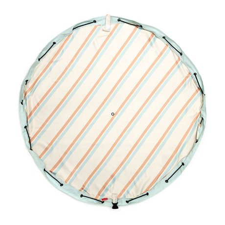 Play & Go Outdoor Storage Bag / Play Mat Stripes Light Brown Blue Cotton ø140cm