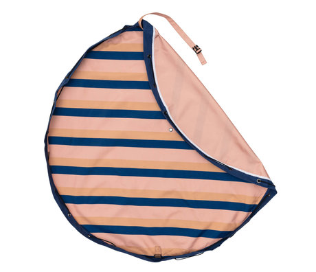 Play & Go Outdoor Storage Bag / Play Mat Mocha Stripes Pink Blue Cotton ø140cm