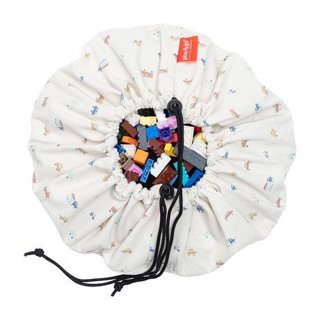 Play & Go Mini Storage Bag / Play Mat Cars Cream Cotton ø40cm