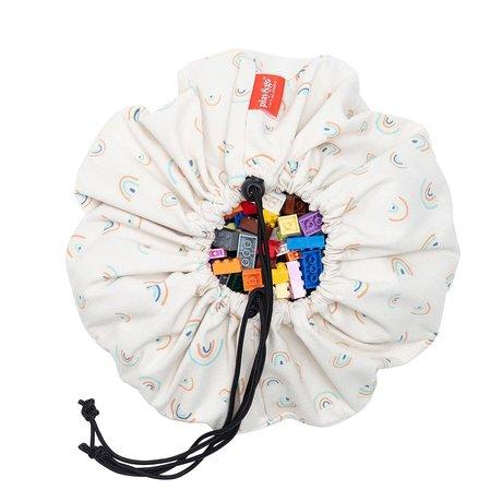 Play & Go Mini Storage Bag / Play Mat Rainbow Cream Cotton ø40cm