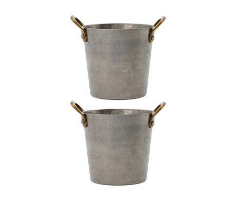 Nicolas Vahe Mini Tapas Bucket Presentation Grijs Roetsvrijstaal Messing ø8,8x9,5cm set van 2