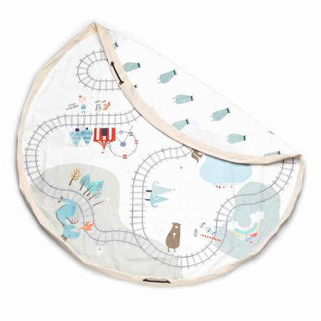 Play & Go Opbergzak / Speelkleed Trainmap Creme Katoen ø140cm