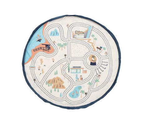 Play & Go Storage Bag / Play Mat LA Roadmap Cream Cotton ø140cm
