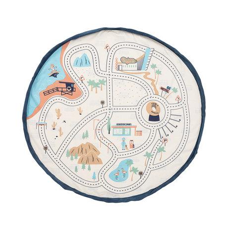 Play & Go Aufbewahrungstasche / Spielmatte LA Roadmap Creme Baumwolle ø140cm