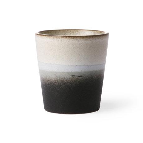 HK-living Mug Rock 70's style black witkeramiek 7,5x7,5x8cm