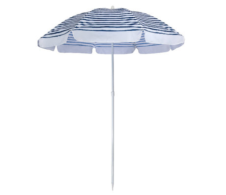 LEF collections Parasol beach eco blauw wit kunststof staal 170x170x150cm