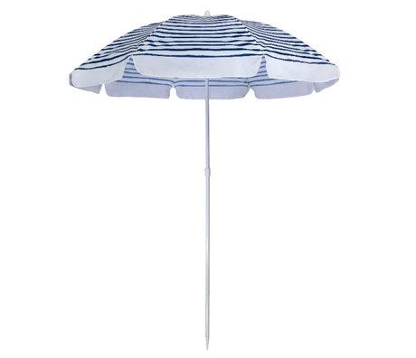 LEF collections Parasol beach eco blue white plastic steel 170x170x150cm