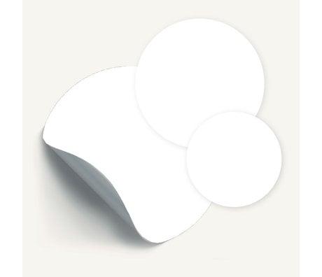 Groovy Magnets Magneetsticker Cirkels Wit zelfklevend vinyl set van 3 ø26,5|19|14cm
