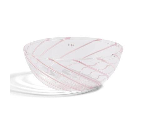 HAY Kom Spin Transparant Roze Glas 0,125L Ø8,5x3,5cm set van 2
