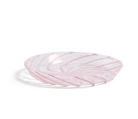 HAY Schaal Spin Transparant Roze Glas Ø11x1,5cm set van 2