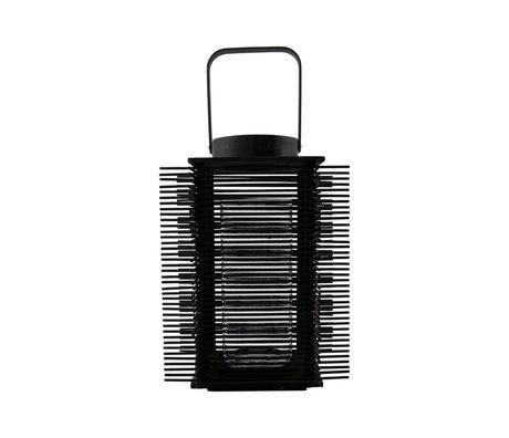 Housedoctor Lantaarn Asi Zwart Bamboe Glas Metaal 24-46x46cm