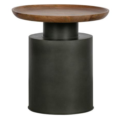 WOOOD Bijzettafel Dua Zwart Metaal Hout 53x53x54cm
