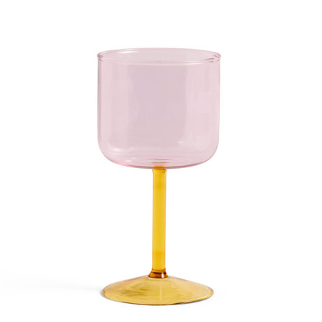 HAY Wijnglas Tint Roze Geel Glas 0,25L Ø7,5x15cm set van 2