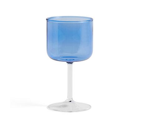 HAY Wijnglas Tint Blauw Glas 0,25L Ø7,5x15cm set van 2