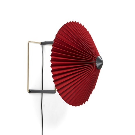 HAY Wandlamp Matin ø300 Donkerrood Katoen Gepolijst Brons ø30x25cm