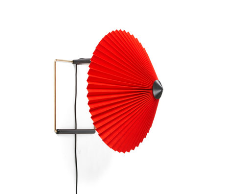 HAY Wandlamp Matin ø300 Rood Katoen Gepolijst Brons ø30x25cm