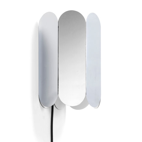 HAY Wandlamp Arcs Met Schakelaar Mirror Zilver Staal 17x13x25cm