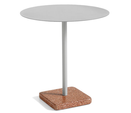 HAY Table Terrazzo Round Gray Red Steel Ø70x74cm