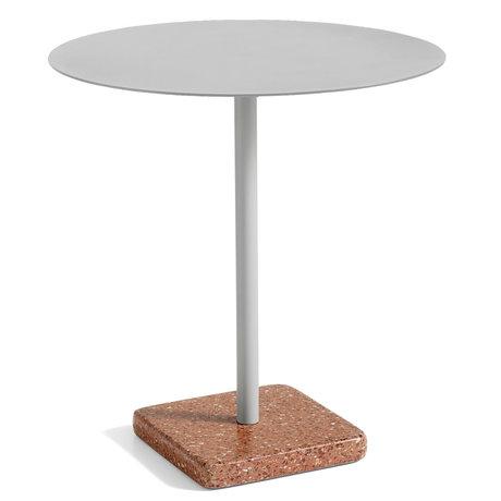 HAY Tisch Terrazzo Rund Grau Rot Stahl Ø70x74cm