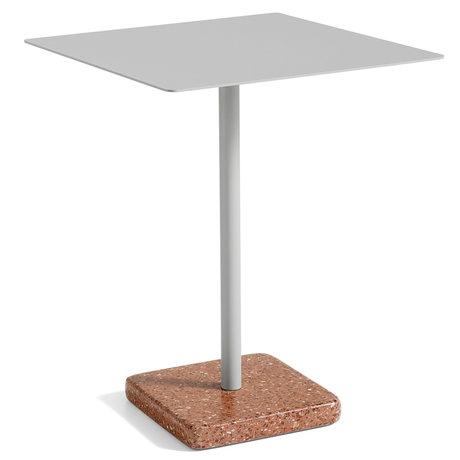 HAY Tafel Terrazzo Vierkant Grijs Rood Staal 60x60x74cm