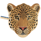 Doing Goods Vloerkleed Himani Leopard Head Large Bruin Wol Katoen 100x105x2cm
