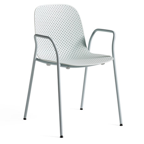HAY Fauteuil 13EIGHTY Armleuning Lichtblauw Staal 53x57x82cm