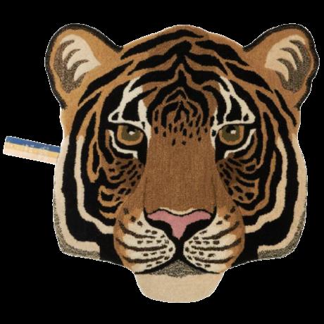 Doing Goods Vloerkleed Rajah Tiger Head Large Bruin Wol Katoen 101x100x2cm