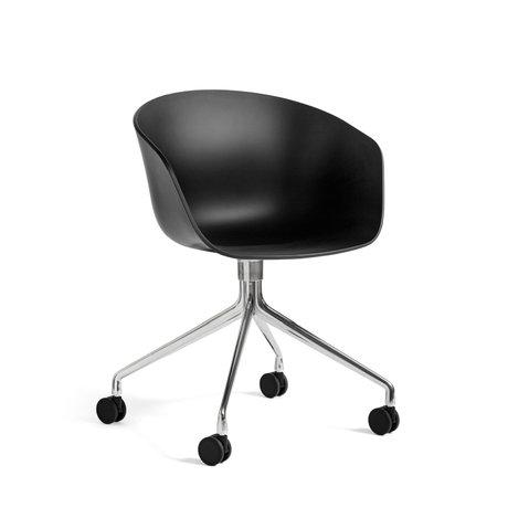 HAY Bureaustoel Wieltjes AAC 24 Zwart Kunststof Gepolijst Aluminium 59x52x79cm