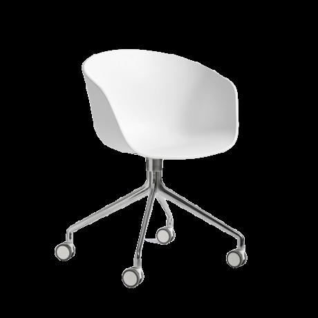 HAY Bureaustoel Wieltjes AAC 24 Wit Kunststof Gepolijst Aluminium 59x52x79cm